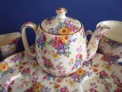 Rare Royal Winton 'Cotswold' Chintz Countess Breakfast Set on Tray c1952